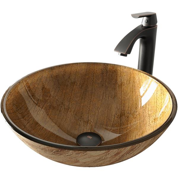 VIGO Glass Vessel Bathroom Sink with Faucet - Rubbed Bronze