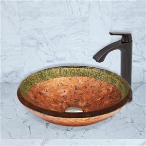 Vasque et robinet de salle de bain «Janus», bronze