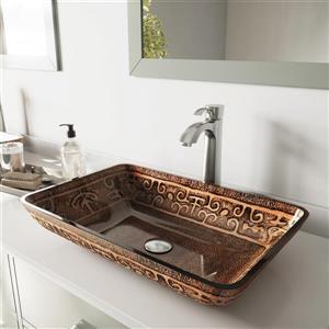 Vasque et robinet de salle de bain en verre Vigo(MD), bronze