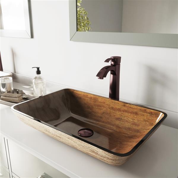VIGO Glass Vessel Bathroom Sink with Faucet - 22-in - Bronze