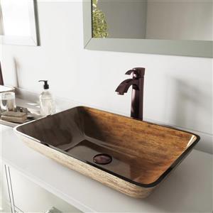 """Vasque et robinet de salle de bain Vigo(MD), 22"""", bronze"""