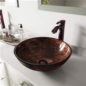 Vasque et robinet de salle de bain «Kenyan», bronze