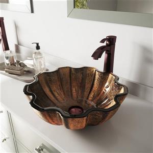 Vasque et robinet de salle de bain en verre «Wallnut Shell»