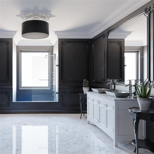 Vasque et robient de salle de bain en vere «Titanium»