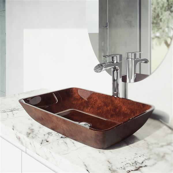 VIGO Glass Vessel Bathroom Sink with Faucet - 18-in - Chrome