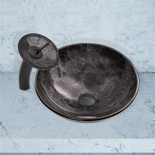 VIGO Glass Vessel Bathroom Sink & Waterfall Faucet - Black