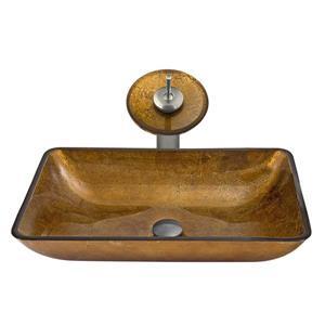 Vasque et robinet de salle de bain en verre Vigo(MD), nickel