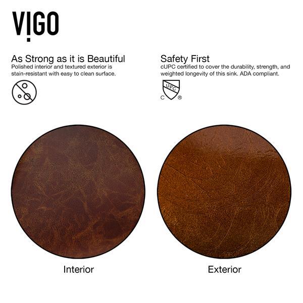 VIGO Glass Vessel Bathroom Sink - 18-in - Multicoloured