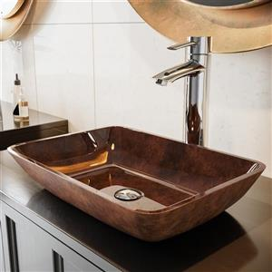 VIGO Glass Vessel Bathroom Sink - 18-in - Multicoloured