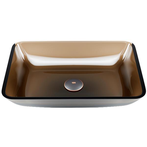 Vasque de salle de bain en verre de Vigo(MD), brun