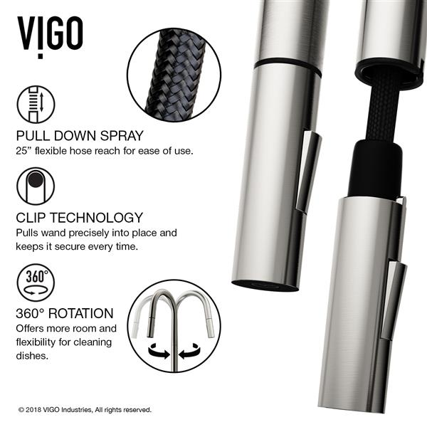 VIGO Greenwich Pull-Down Spray Kitchen Faucet - Stainless