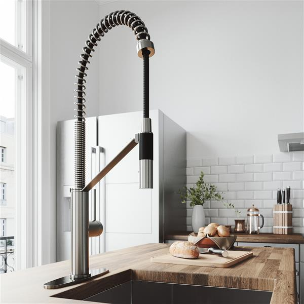 VIGO Livingston Magnetic Kitchen Faucet With Deck Plate