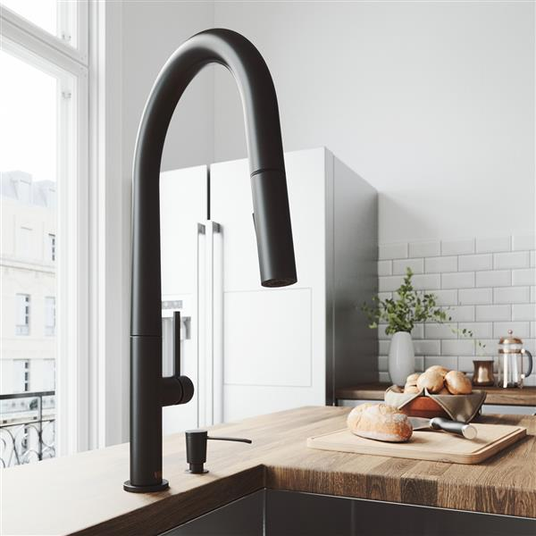 VIGO Greenwich Pull-Down Spray Kitchen Faucet - Matte Black