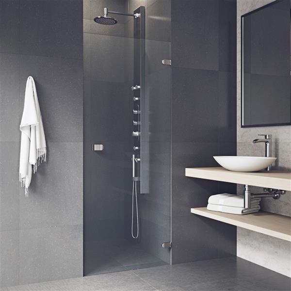 VIGO Tempo Frameless Shower Door - 24-in x 22-in x 70-in - Clear Glass