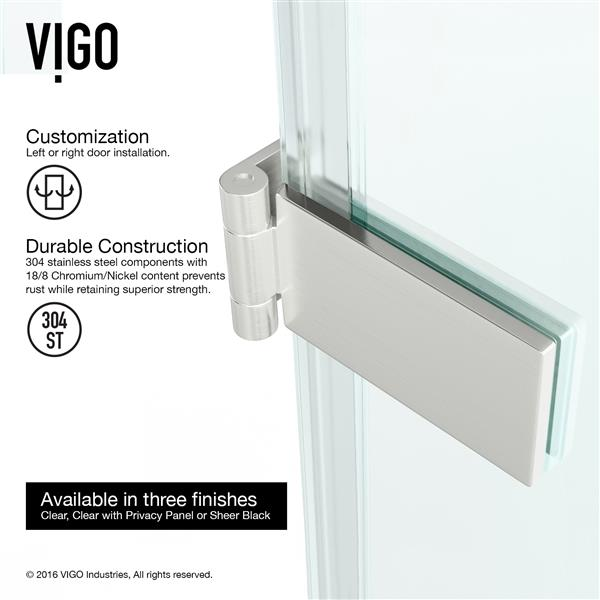 VIGO Soho Frameless Shower Door - 28-in x 26-in x 70-in - Clear Glass