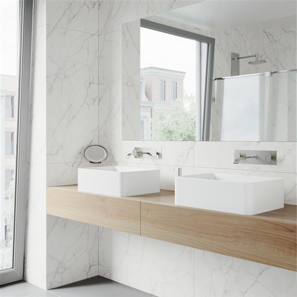 VIGO Titus Wall Mount Bathroom Faucet - 2 Handles - Nickel