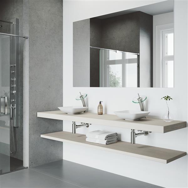 VIGO Waterfall Bathroom Vessel Faucet - 1 Handle - Brushed Nickel