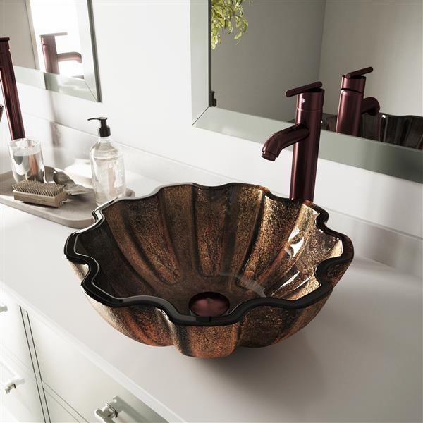 Vasque de salle de bain «Walnut Glass», multicolore