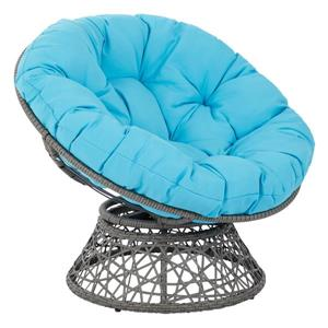 OSP Designs Papasan Fabric Lounge Chair - 1 Place - Blue