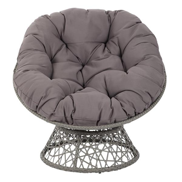 OSP Designs Papasan Fabric Lounge Chair - 1 Place - Grey