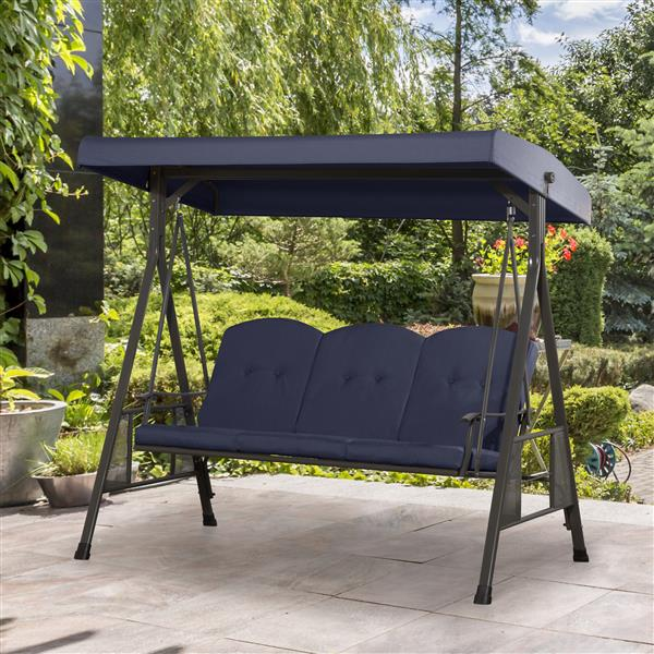 """3-Seat Patio Swing with Adjustable Canopy - Navy Blue - 80"""""""
