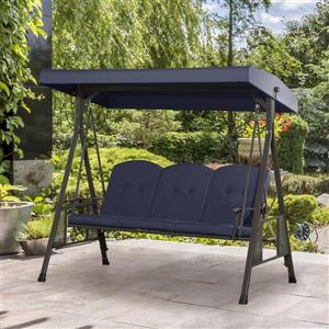 3-Seat Patio Swing with Adjustable Canopy - Navy Blue - 80
