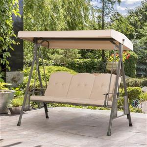 """Balançoire patio 3 places avec auvent ajustable, beige, 82"""""""