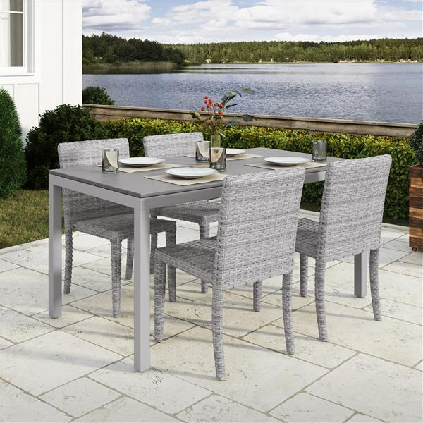 CorLiving Outdoor Dining Set 1 table and 4 chairs - Blended Grey/Grey