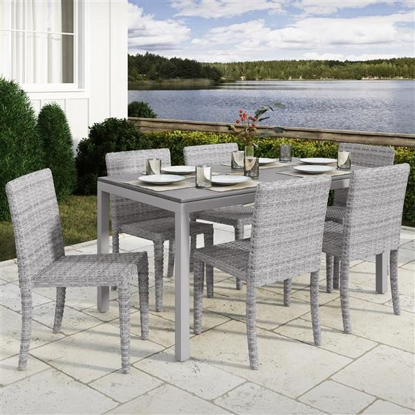 CorLiving Outdoor Dining Set - Blended Grey and Grey - 7 pc