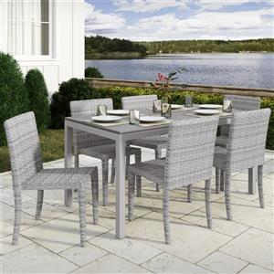 Ensemble à dîner pour patio CorLiving, gris multi tons, 7mcx