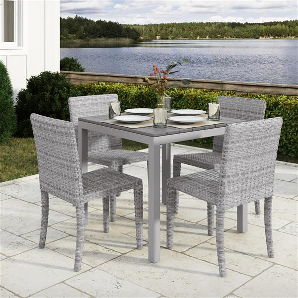 Ensemble à dîner pour patio CorLiving, gris mutli tons, 5mcx