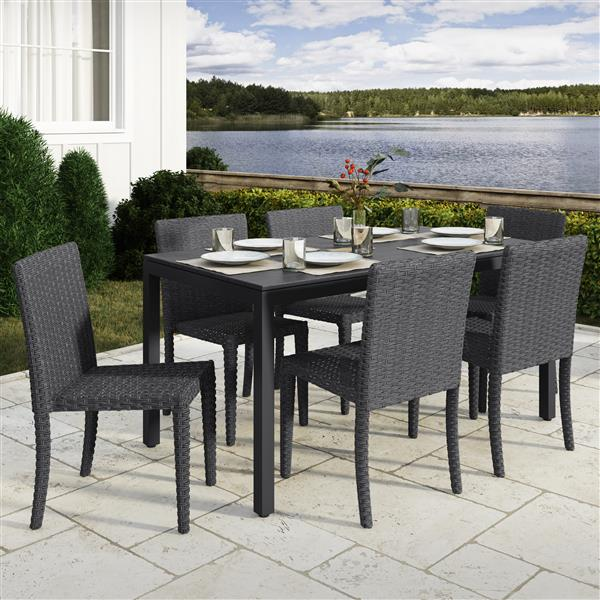 CorLiving Outdoor Dining Set- Charcoal Grey and Black - 7 pc