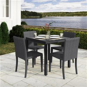 CorLiving Outdoor Dining Set - with Charcoal Grey and Black - 5 pc
