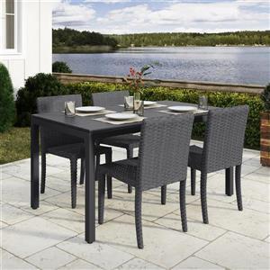 Ensemble à dîner pour patio en osierg,  charbon/noir, 5 mcx