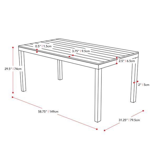 "Table de patio CorLiving, gris clair, 31"" x 59"""