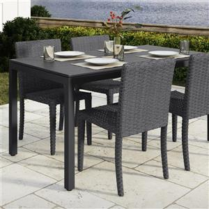 "Table de patio CorLiving, noire, 31"" x 59"""