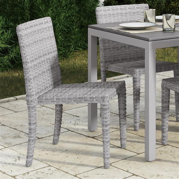 CorLiving Rattan Wicker Dining Chairs - Blended Grey - Set of 4