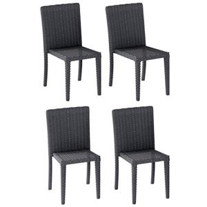 CorLiving Rattan Wicker Dining Chairs - Charcoal Grey - Set of 4