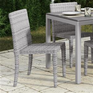 Rattan Wicker Dining Chairs - Blended Grey - Set of 2