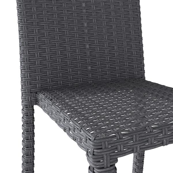 CorLiving Rattan Wicker Dining Chairs - Charcoal Grey - Set of 2