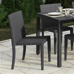 Rattan Wicker Dining Chairs - Charcoal Grey - Set of 2