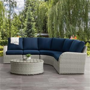 CorLiving Curved Sectional Patio Set - Blended Grey / Navy Blue - 5pc