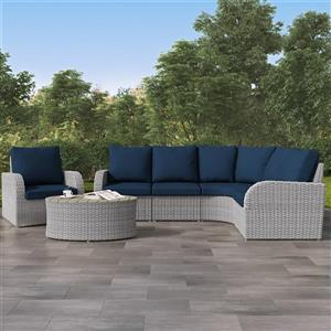 Curved Sectional Patio Set- Blended Grey / Navy Blue - 6pc