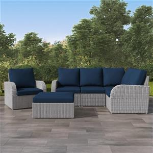 Corner Sectional Patio Set- Blended Grey / Navy Blue - 6pc