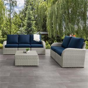 CorLiving Patio Conversation Set- Blended Grey / Navy Blue - 6pc
