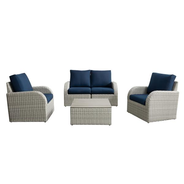 CorLiving Patio Conversation Set- Blended Grey / Navy Blue - 5pc