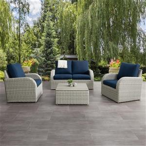 Patio Conversation Set- Blended Grey / Navy Blue - 5pc