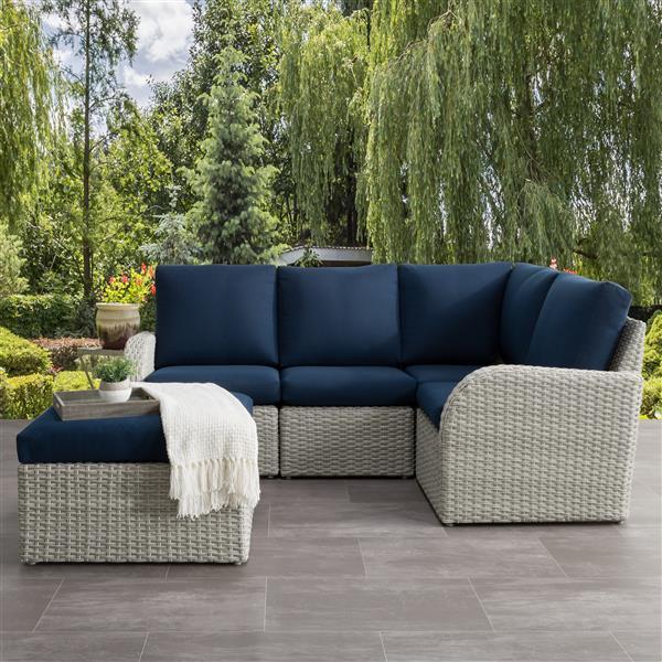 Ensemble patios modulaire, gris foncé et bleu marine, 5 mcx
