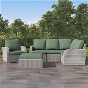 CorLiving Corner Sectional Patio Set- Blended Grey / Sage Green - 6pc