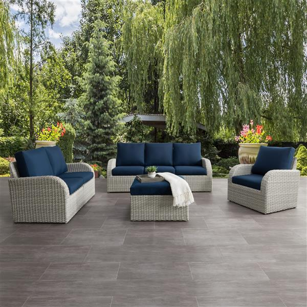 CorLiving Patio Conversation Set- Blended Grey / Navy Blue - 7pc